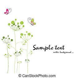 motyl, wiosna, barwny, flora