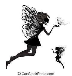 motyl, wróżka, sylwetka