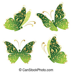 motyl, złoty, sztuka, przelotny, ozdoba, zielony, kwiatowy