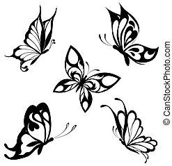 motyle, komplet, czarnoskóry, biały, ta