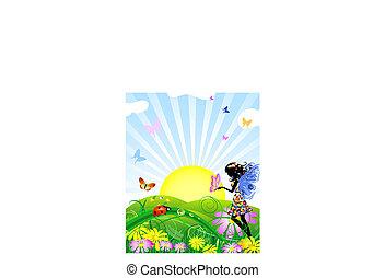 motyle, kwiat, łąka, wróżka