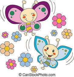 motyle, kwiaty, miłość