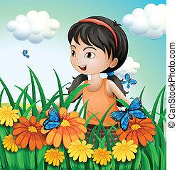motyle, ogród, dziewczyna