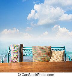 motyw morski, drewno, stół, przeciw, ława