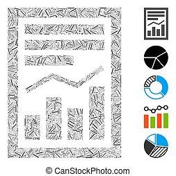 mozaika, ikona, wykres, strona, myślnik, zameldować