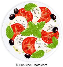 mozzarella, nafta, caprese, płyta, sałata, oliwki, pieprz, odizolowany, czarna oliwka, biały, bazylia