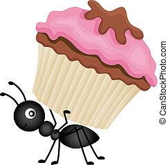 mrówka, transport, cupcake