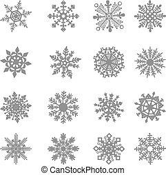 mrożony, kryształ, graficzny, gwiazda, symbol, wektor, biały, płatek śniegu