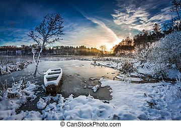 mrożony, zima, wschód słońca, jezioro