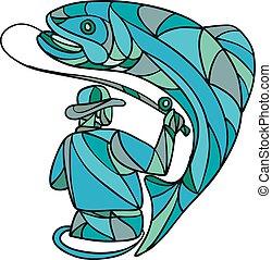 mucha farba, uchwyt, rybak, mozaika, pstrąg