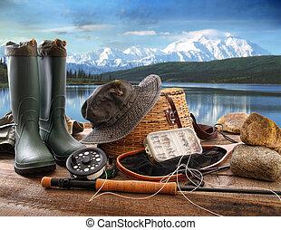 mucha, góry, pokład, jezioro, wyposażenie, wędkarski, prospekt