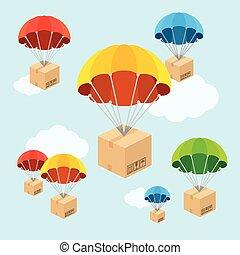 mucha, płaski, clouds., spadochron, wektor, projektować