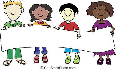 multi, dzieciaki, chorągiew, dzierżawa, etniczny