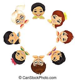 multi, grupa, dzieci, etniczny