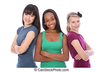 multi, grupa, teenage, szkoła, kulturalny, drużki