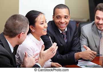 multi, kobieta handlowa, interacting., drużyna, ognisko, etniczny, meeting.