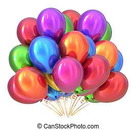 multicolored., ozdoba, urodzinowa partia, balony, balloon, grono