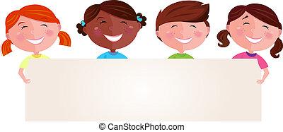 multicultural, chorągiew, dzieci