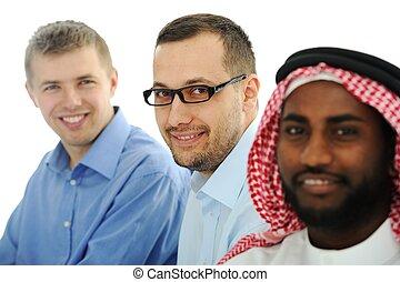 multicultural, młody, handlowy zaprzęg