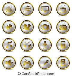 multimedia, komplet, złoty, ikony