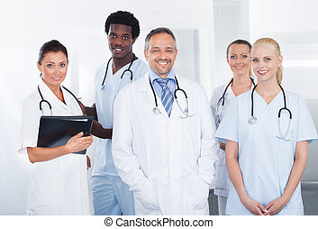 multiracial, szczęśliwy, grupa, leczy