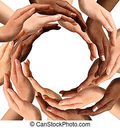 multiracial, zrobienie, koło, siła robocza