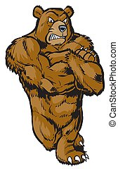 muskularny, maskotka, rysunek, niedźwiedź, nachylenie