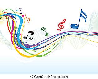 muzyczny, abstrakcyjny, tło, machać