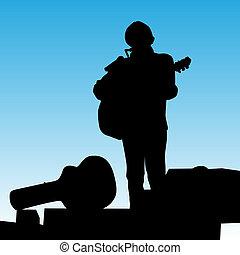 muzyk, interpretacja, rusztowanie
