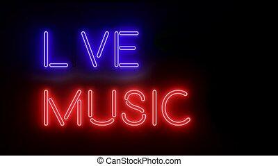 muzyka, światła, jarzący się, tekst, logo, znak, multicolor, neon, żywy