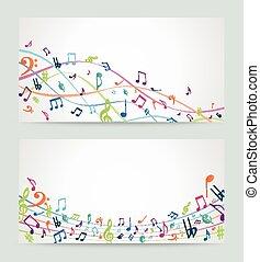 muzyka, barwny, notatki, abstrakcyjny