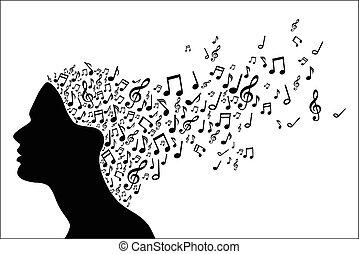 muzyka, głowa, kobieta, sylwetka, nie