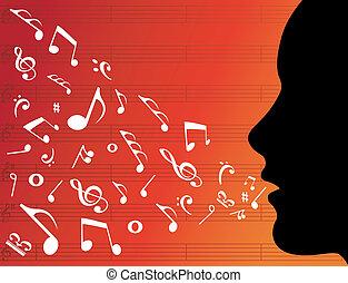 muzyka, głowa, kobieta, sylwetka, notatki