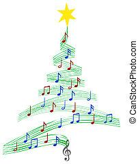 muzyka, kolęda, drzewo, boże narodzenie