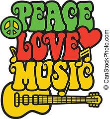 muzyka, kolor, pokój, miłość, rasta