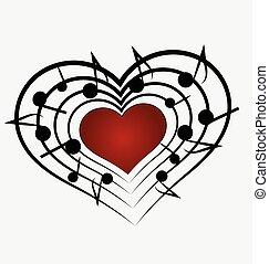 muzyka, miłość notują, logo, serce