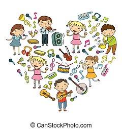 muzyka, muzyczny, wektor, zbiór, grający dziećmi, doodle, lekcja, przedszkole, ikona, dzieciaki, szkoła, instrumentować, śpiew, ilustracja, śpiewy