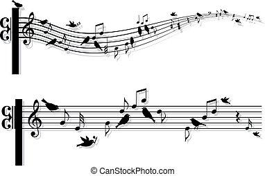 muzyka notatnik, wektor, ptaszki