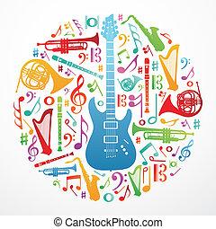 muzyka, pojęcie, miłość, tło, ilustracja