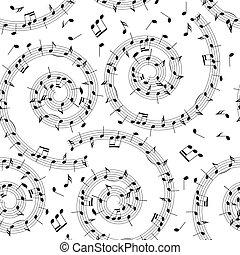 muzyka, próbka, -, wektor, tło, seamless, spirala, notatki