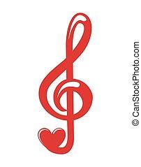 muzyka, serce, ikona, miłość notują