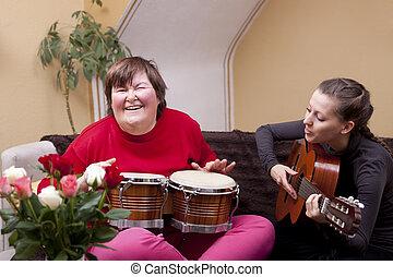 muzyka, ustalać, terapia, dwa kobiet