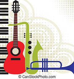 muzyka, wektor, instrumentować