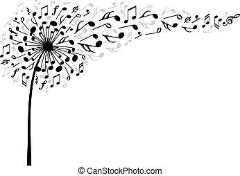muzyka, wektor, kwiat, mniszek lekarski