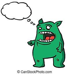 myśl, 1, zielony, bańka, potwór