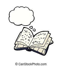 myśl, otwarta książka, bańka, rysunek