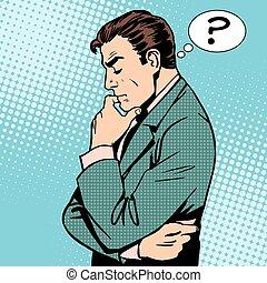 myślenie, biznesmen, pytania