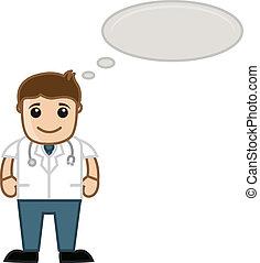 myślenie, medyczny, -, rysunek, doktor