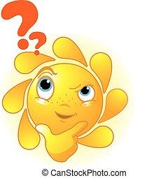 myślenie, sprytny, lato, słońce