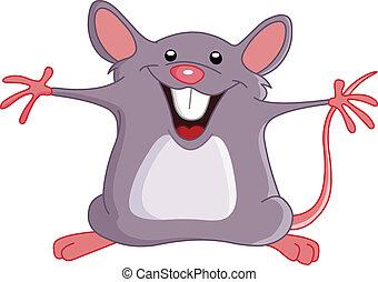 mysz, szczęśliwy